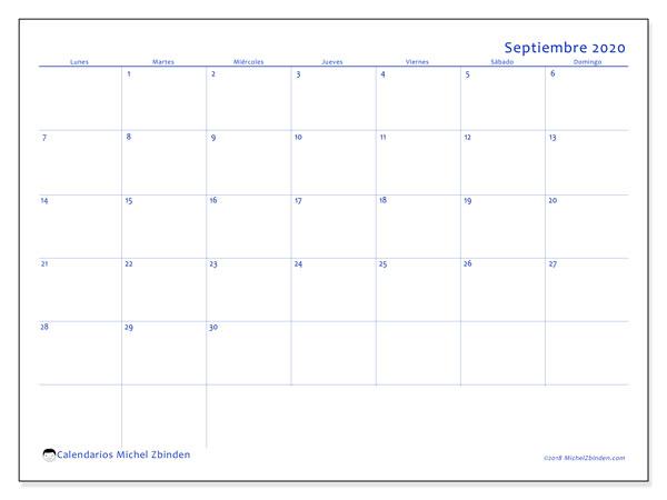 Calendario septiembre 2020, 55LD. Calendario mensual para imprimir gratis.