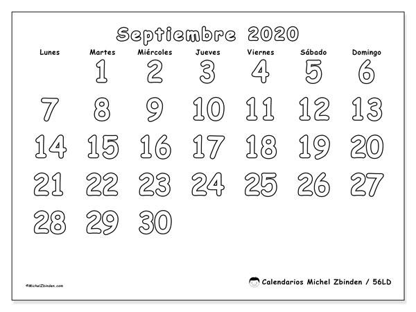 Calendario septiembre 2020, 56LD. Calendario mensual para imprimir gratis.