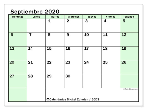Calendario septiembre 2020, 60DS. Calendario gratuito para imprimir.