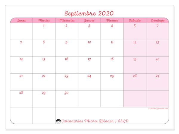 Calendario septiembre 2020, 63LD. Calendario imprimible gratis.