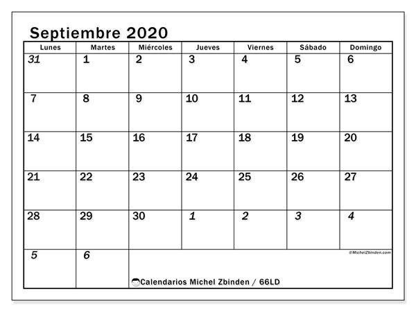 Calendario septiembre 2020, 66LD. Calendario imprimible gratis.