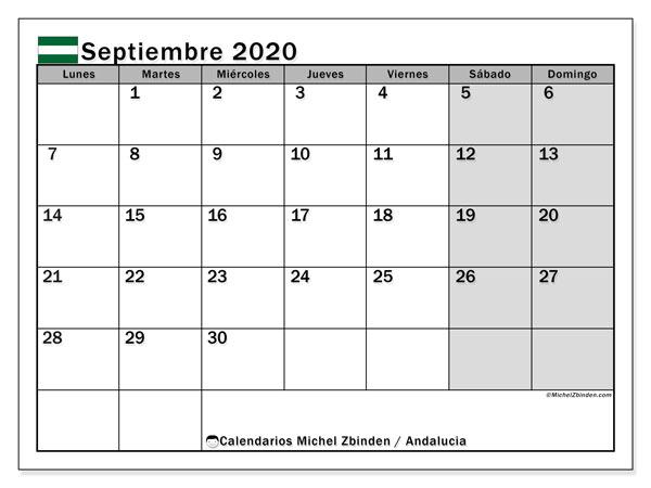 Calendario septiembre 2020, con días feriados en Andalucía. Calendario para imprimir gratis con días festivos.