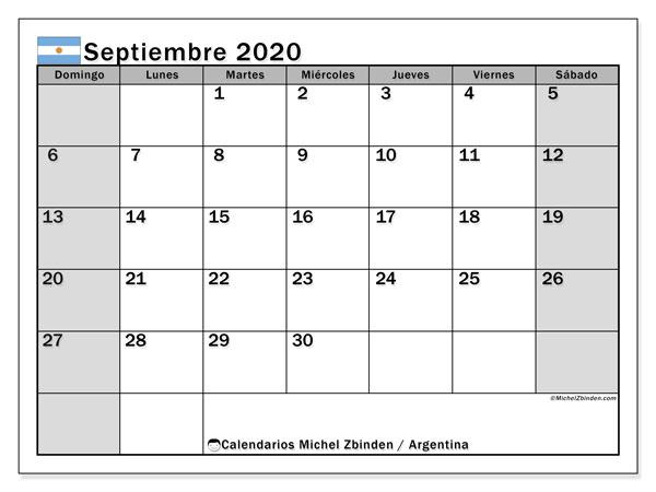Calendario septiembre 2020, con días feriados en Argentina. Calendario para imprimir gratis con días festivos.