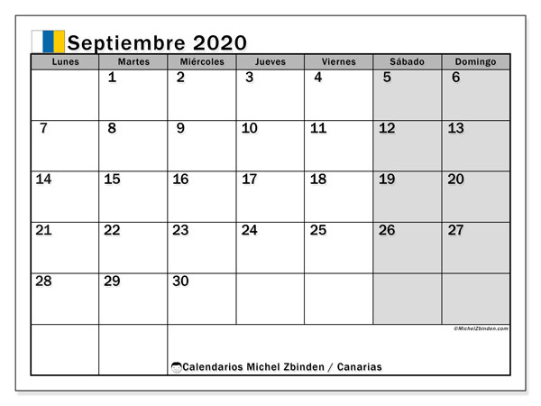 Calendario septiembre 2020, con días feriados en las Islas Canarias. Calendario para imprimir gratis con días festivos.
