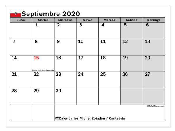 Calendario septiembre 2020, con días feriados en Cantabria. Calendario vacaciones y festivos para imprimir gratis.
