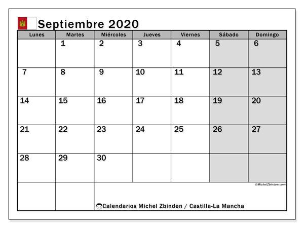 Calendario septiembre 2020, con días feriados en Castilla-La Mancha. Calendario para imprimir gratis con días festivos.