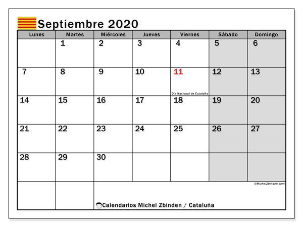 Calendario septiembre 2020, con días feriados en Cataluña. Calendario vacaciones y festivos para imprimir gratis.