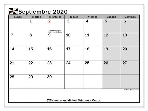 Calendario septiembre 2020, con días feriados en Ceuta. Calendario para imprimir gratis con días festivos.
