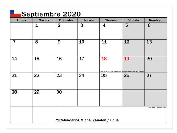 Calendario septiembre 2020, con días feriados en Chile. Calendario para imprimir gratis con días festivos.