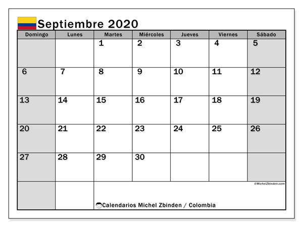 Calendario septiembre 2020, con los días festivos en Colombia. Calendario gratuito para imprimir.