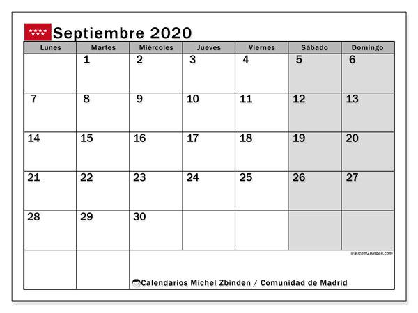 Calendario septiembre 2020, con días feriados de la Comunidad de Madrid. Calendario para imprimir gratis con días festivos.