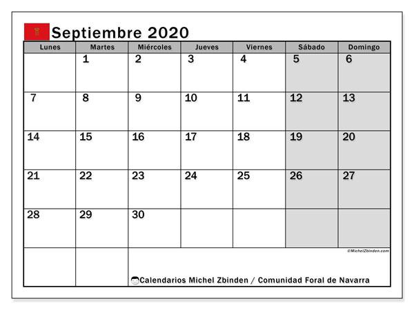 Calendario septiembre 2020, con días feriados de la Comunidad Foral de Navarra. Calendario vacaciones y festivos para imprimir gratis.