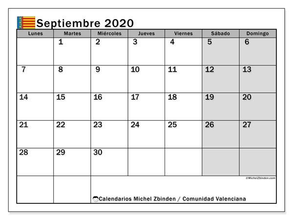 Calendario septiembre 2020, con días feriados de la Comunidad Valenciana. Calendario vacaciones y festivos para imprimir gratis.