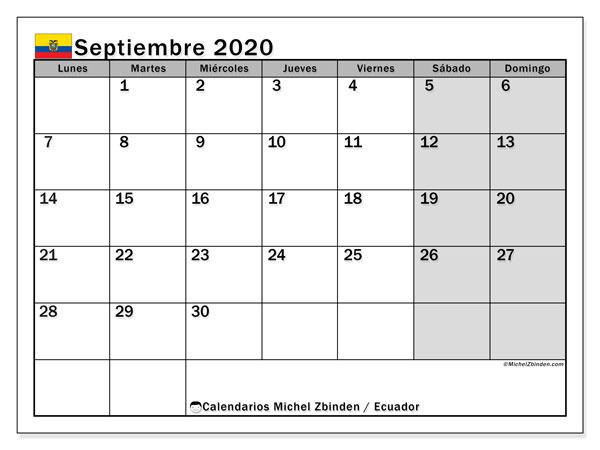 Calendario septiembre 2020, con días feriados en Ecuador. Calendario vacaciones y festivos para imprimir gratis.