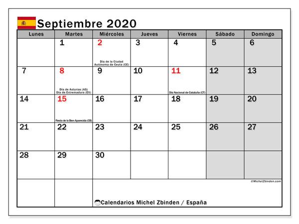 Calendario septiembre 2020, con días feriados en España. Calendario para imprimir gratis con días festivos.