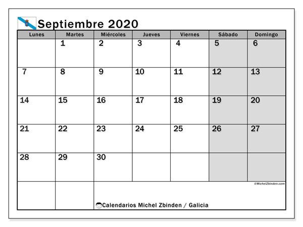 Calendario septiembre 2020, con días feriados en Galicia. Calendario para imprimir gratis con días festivos.