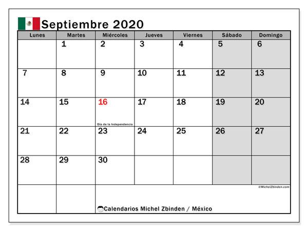 Calendario septiembre 2020, con los días feriados en México. Planificación para imprimir gratis.