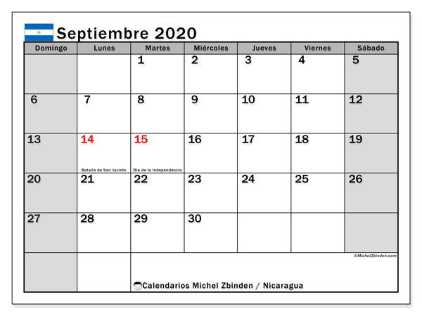 Calendario septiembre 2020, con días feriados en Nicaragua. Calendario vacaciones y festivos para imprimir gratis.
