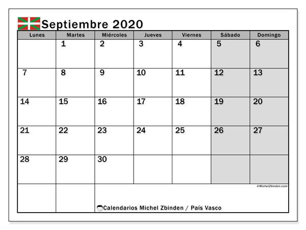 Calendario septiembre 2020, con días feriados en el País Vasco. Calendario vacaciones y festivos para imprimir gratis.