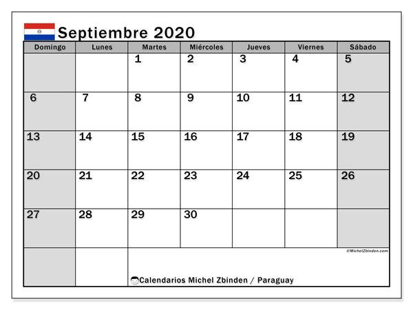 Calendario septiembre 2020, con días feriados en Paraguay. Calendario para imprimir gratis con días festivos.
