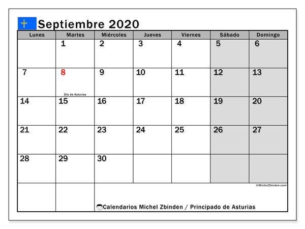 Calendario septiembre 2020, con días feriados del Principado de Asturias. Calendario para imprimir gratis con días festivos.