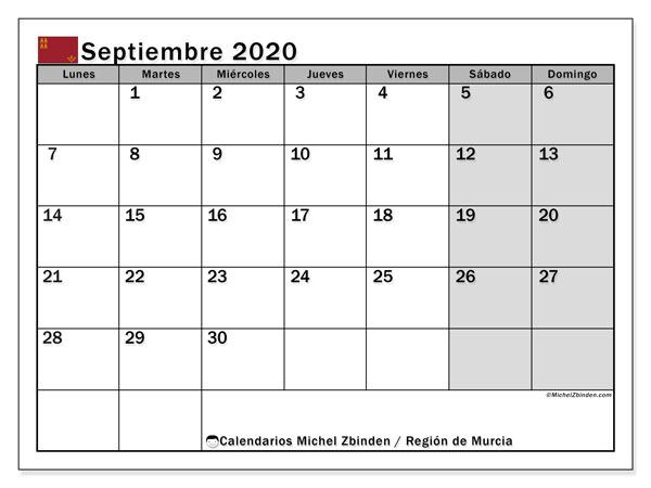 Calendario septiembre 2020, con días feriados en la Región de Murcia. Calendario vacaciones y festivos para imprimir gratis.