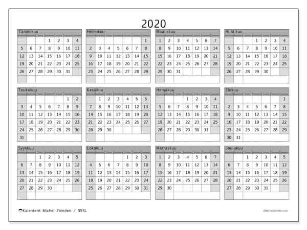 Kalenteri 2020, 35SL. Ilmainen tulostettava planner.