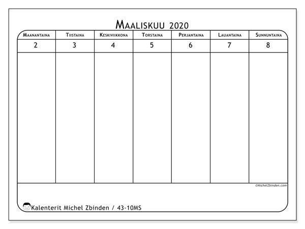 Kalenteri 2020, 43-10MS. Ilmainen viikoittainen tulostuskalenteri.