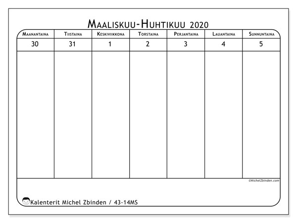 Kalenteri 2020, 43-14MS. Vapaa tulostettava kalenteri.