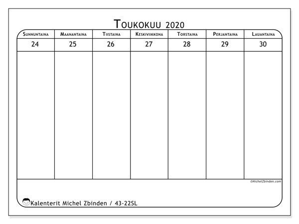 Kalenteri 2020, 43-22SL. Viikkokalenteri ilmaiseksi tulostamista varten.