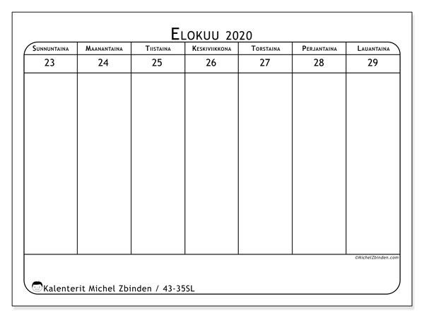 Kalenteri 2020, 43-35SL. Viikkokalenteri ilmaiseksi tulostamista varten.