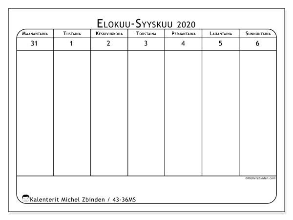 Kalenteri 2020, 43-36MS. Ilmainen tulostettava planner.
