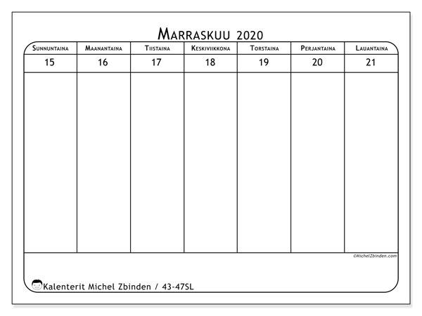 Kalenteri 2020, 43-47SL. Viikkokalenteri ilmaiseksi tulostamista varten.