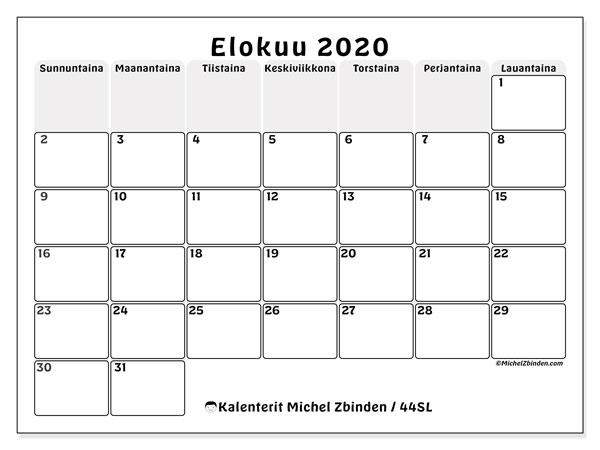 Kalenteri elokuu 2020, 44SL. Kuukausikalenteri ilmaiseksi tulostamista varten.