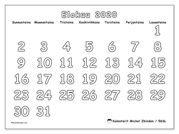 Kalenteri elokuu 2020, 56SL. Kuukausikalenteri ilmaiseksi tulostamista varten.