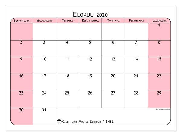 Kalenteri elokuu 2020, 64SL. Kuukausikalenteri ilmaiseksi tulostamista varten.