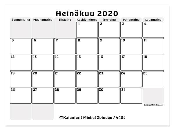 Kalenteri heinäkuu 2020, 44SL. Kuukauden kalenteri tulostaa ilmaiseksi.