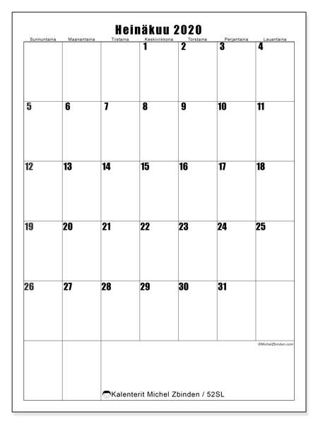 Kalenteri heinäkuu 2020, 52SL. Kuukauden kalenteri tulostaa ilmaiseksi.
