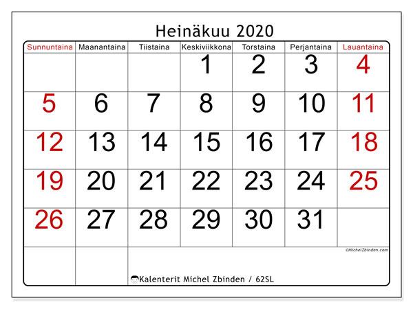 Kalenteri heinäkuu 2020, 62SL. Ilmainen järjestäjä tulostettava.