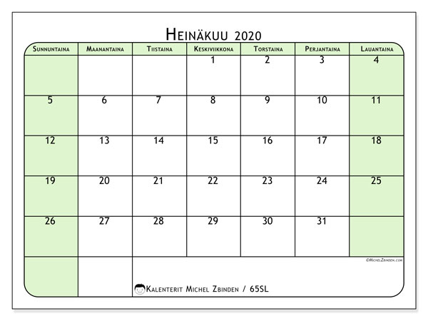 Kalenteri heinäkuu 2020, 65SL. Ilmainen järjestäjä tulostettava.