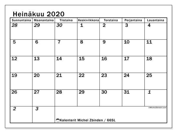 Kalenteri heinäkuu 2020, 66SL. Vapaa tulostettava kalenteri.