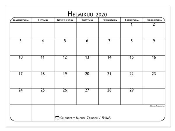 Kalenteri helmikuu 2020, 51MS. Kuukauden kalenteri tulostaa ilmaiseksi.