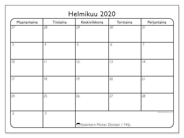 Kalenteri helmikuu 2020, 74SL. Vapaa tulostettava kalenteri.