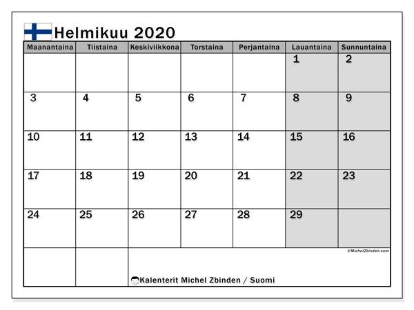 Kalenteri helmikuu 2020, yleisten juhlapäivien kautta Suomesta. Ilmainen tulostettava kalenterin juhlapäivät.