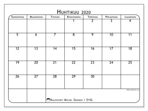 Kalenteri huhtikuu 2020, 51SL. Ilmainen kalenteri tulostettavaksi.
