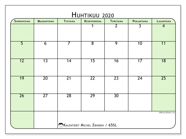 Kalenteri huhtikuu 2020, 65SL. Kuukausikalenteri ilmaiseksi tulostamista varten.