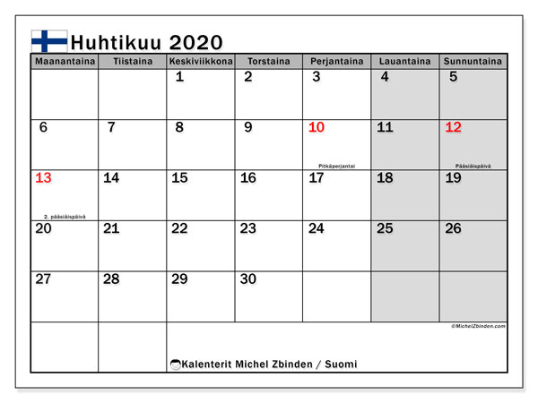 Kalenteri huhtikuu 2020, yleisten juhlapäivien kautta Suomesta. Ilmainen loma- ja juhlapäivien kalenteri.