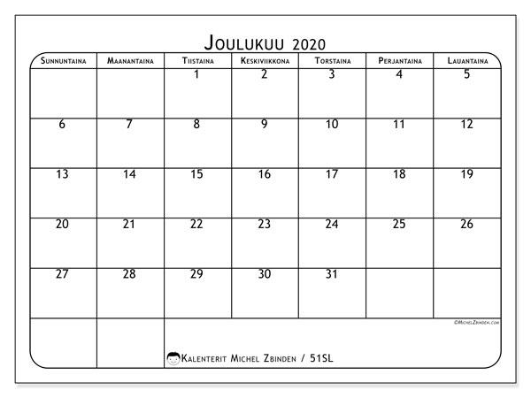 Kalenteri joulukuu 2020, 51SL. Ilmainen tulostettava planner.