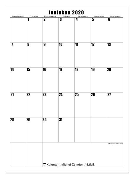 Kalenteri joulukuu 2020, 52MS. Kuukausikalenteri ilmaiseksi tulostamista varten.