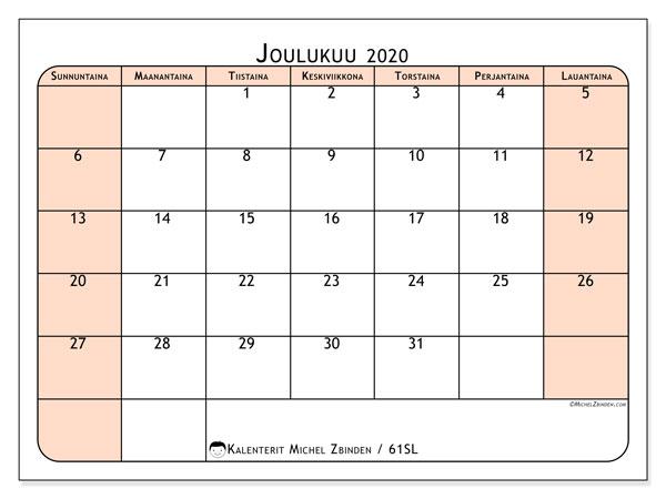 Kalenteri joulukuu 2020, 61SL. Ilmainen järjestäjä tulostettava.